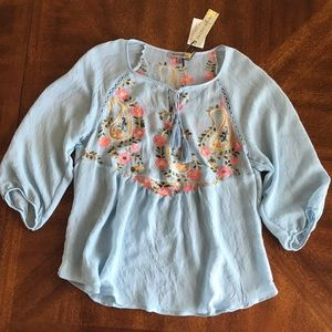 Figueroa & Flower boho embroidered 3/4 Blouse